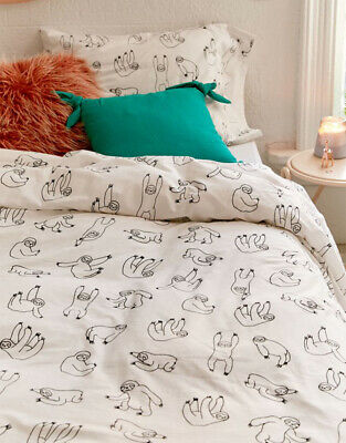 urban outfitters single bedding set duvet cover cute hanging sloth print sketch ebay
