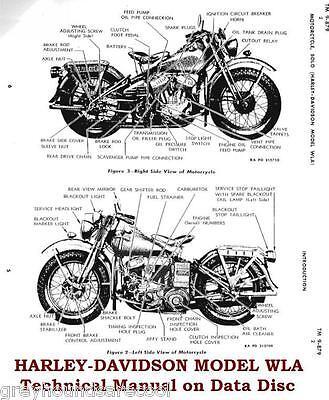 Harley Davidson Model WLA Motorbike Vintage Technical