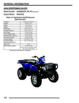 Polaris 2009 ATV Sportsman 500 HO/EFI /X2/Touring service