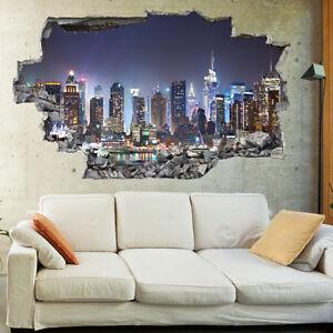 Le dimensioni indicate si riferiscono. New York City Notte Skyline 3d Arte Murale Parete Photo Carta Da Parati Adesivi Murali 1047 Ebay