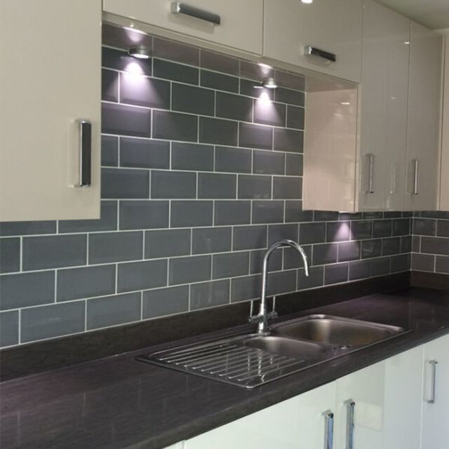 brick effect kitchen wall tiles country decorating ideas grey metro polished ceramic sample ebay