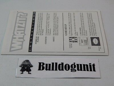 1987 Whatzit ? Board Card Game Replacement Instruction