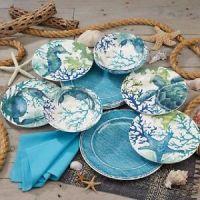 Sea Life 12-piece Melamine Dinnerware Set, Green & Blue   eBay