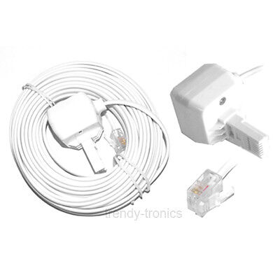 10M White RJ11 to BT Home Telephone Phone Fax Extension