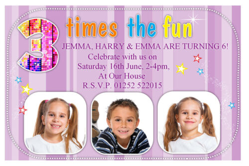 celebrations occasions 10 personalised triplets joint birthday party photo invitations n141 home furniture diy itkart org