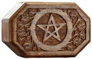 wiccan decor pagan box pentagram wooden metaphysical octagon