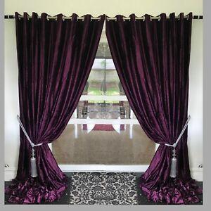 details sur velours rideaux a œillets et epais long pret a l emploi entierement doubles violet afficher le titre d origine