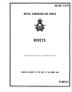 62 Page 1965 RCAF Aircraft Rivets Technical Manual on CD