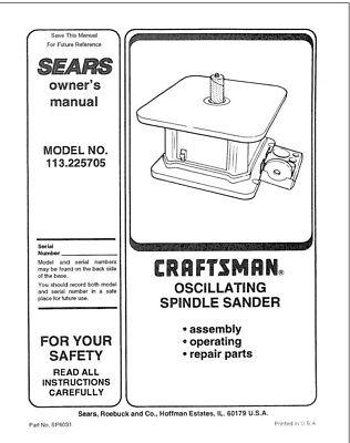 Craftsman 113.225705 Spindle Sander Owners Instruction