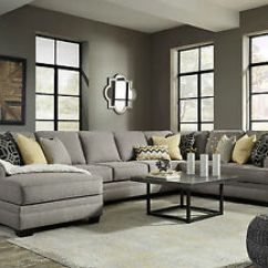 Living Room Fabrics Paint Color Options For Rooms New 4 Pieces Sectional Large Gray Fabric Sofa Couch Image Is Loading