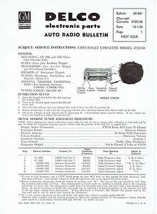 Delco 1956 1957 Chevy Corvette Wonderbar Radio Service and