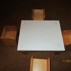 Handmade Wooden Chairs Folding Zaisu Chair Vintage Formica Doll Table With 4 Ebay Image Is Loading