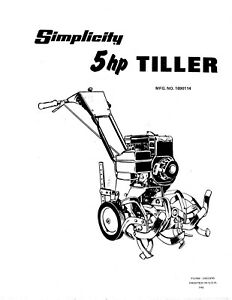 Simplicity 5 HP Tiller Model 1004 Repair Parts Manual