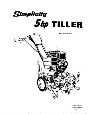 Simplicity 5 HP Tiller Model 1004 Repair Parts Manual