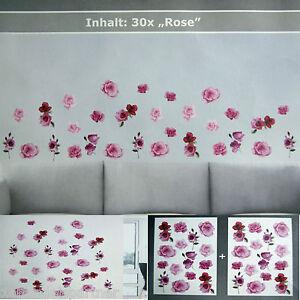 Wandtattoo ROSEN im SET Blumen Deko Sticker WandTattoo 30 Aufkleber Neu  eBay