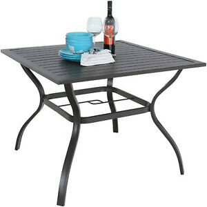 details about outdoor dining table square patio bistro table with umbrella hole 37 x 37