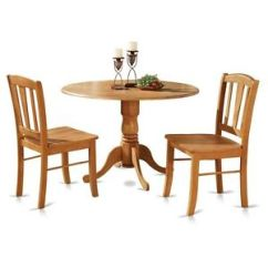 Solid Wood Kitchen Sets Build Your Own Outdoor Island 3pc Round Pedestal Drop Leaf Table 2 Chairs Image Is Loading