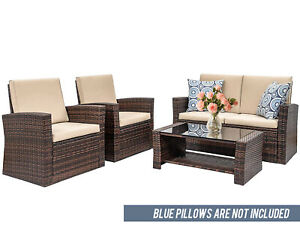 details about 4 pieces outdoor patio furniture sets sectional sofa rattan chair wicker set