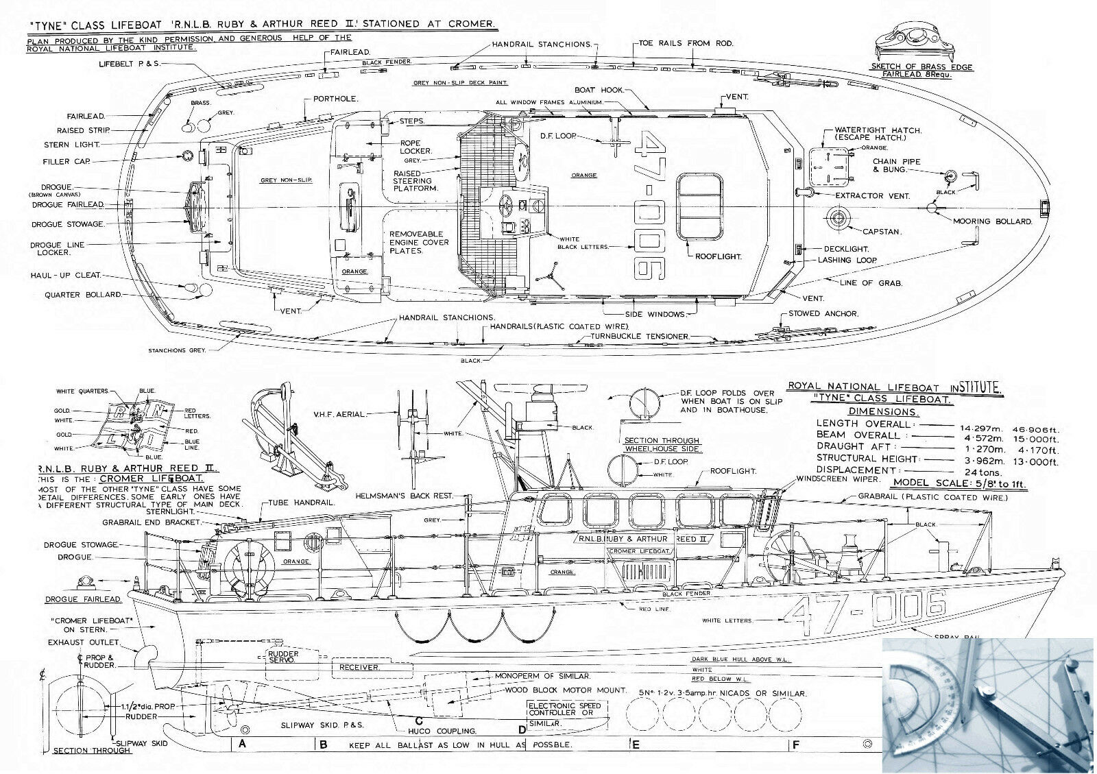 Model Boat PLAN Scale Tyne Class Lifeboat R/C F/S Printed