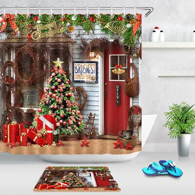 rustic farmhouse christmas tree baubles gifts shower curtain set bathroom decor