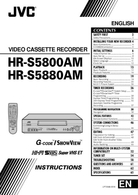 JVC HR-S5800AM HR-S5880AM VCR Owners Instruction Manual