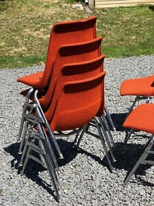 orange bucket chair top high chairs 8 stacking retro fabric chrome legs many details about more available