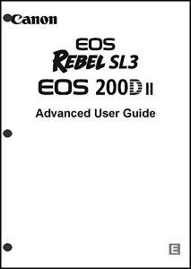 Canon REBEL SL3 EOS 200Dii Digital Camera User Instruction