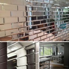 Wall Tile For Kitchen Modern Cabinet Doors 22 Tiles Silver Bevelled Mirror Bricks Perfect Image Is Loading