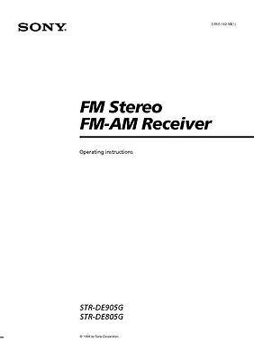 Sony STR-DE805G Amplifier / Receiver Owners Instruction