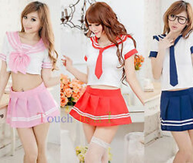 Image Is Loading Sexy Lingerie Sailor School Girl Lolita Cosplay Costume