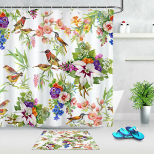 details about watercolor exotic birds and spring flowers shower curtain set bathroom decor 72