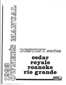 COLEMAN Popup Trailer Owners Manual-1993 Destiny Cedar