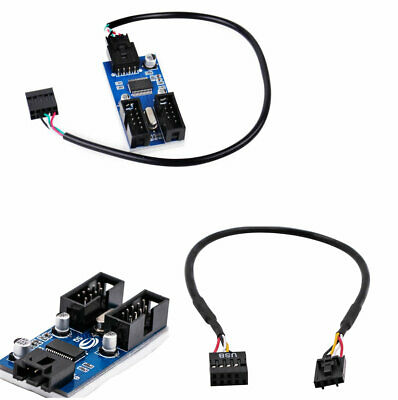 9pin motherboard Header to Dual 9-Pin male USB extension