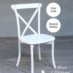 Cross Back Dining Chairs White Diy Outdoor Chair French Provincial Seat Cafe Image Is Loading