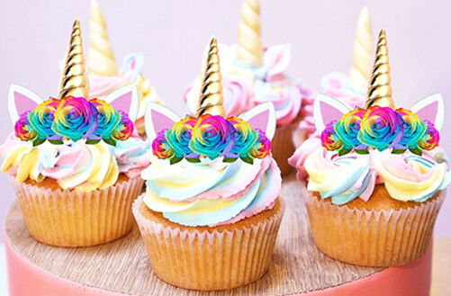 24 Stand Up Mini Unicorn Gold Horn Flowers Edible Wafer Cupcake