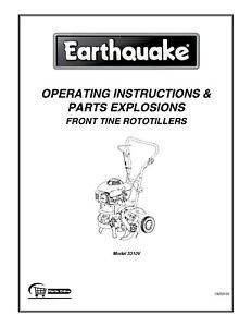Earthquake Tiller Model 3310V Operator Instruction & Parts