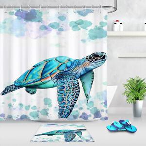 details about watercolor painting blue sea turtle fabric shower curtain set bathroom decor 72