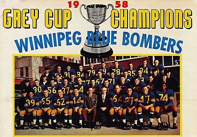 CFL 1958 Winnipeg Blue Bombers Grey Cup Champs Color Team Photo 8 ...