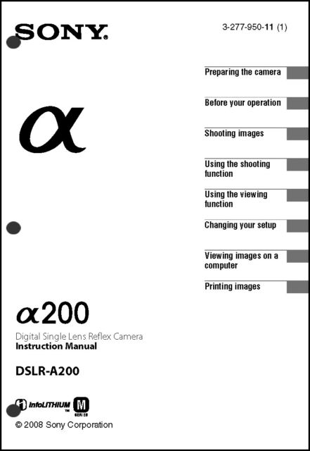 Sony DSLR Alpha A200 Digital Camera User Guide Instruction
