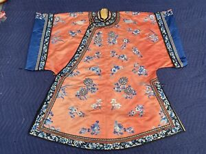 Lovely Antique Chinese Silk Red Robe Qing Period Ladies Robe