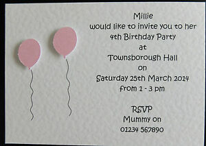 details about 10 handmade personalised birthday invitations girl boy 1st 2nd 3rd 4th 5th 6th