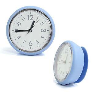 Blue Bathroom Mirror Suction Clock Shower Room Clock
