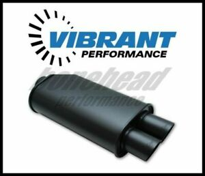 details about vibrant 1148 streetpower flat black oval muffler with dual tips 2 5 inlet