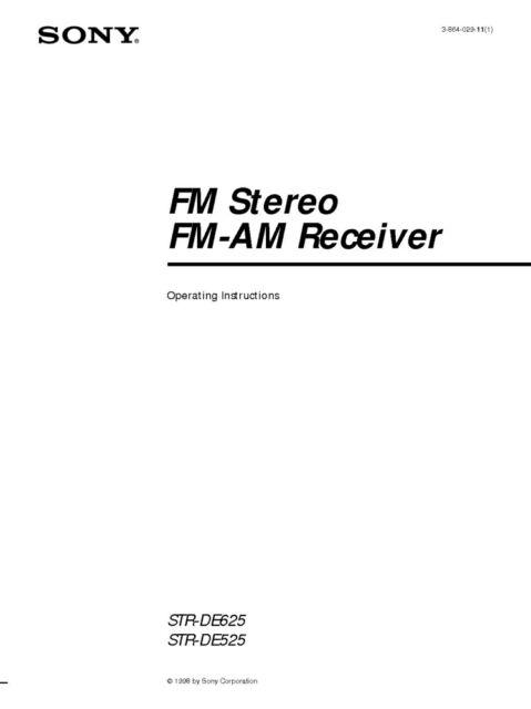 Sony STR-DE525 Amplifier / Receiver Owners Instruction
