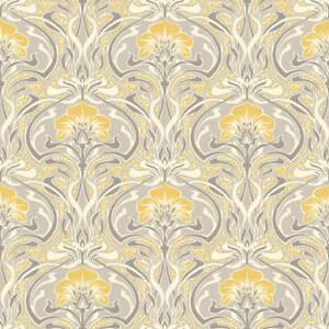 details sur argent gris jaune retro papier peint damasse vintage flora nouveau metallique crown afficher le titre d origine