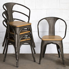 industrial style dining chairs chair covers tall set of 4 gun metal grey kitchen bistro cafe item 3 vintage seat