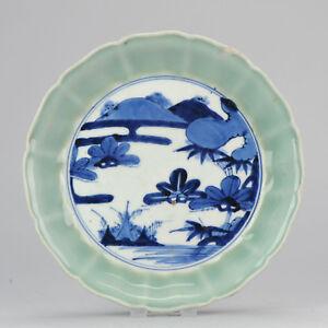 Antique 18/19th c Japanese Porcelain Plate Celadon Arita Japan