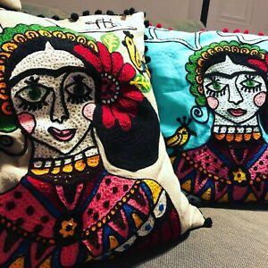 details about frida kahlo cushion cover antler embroidered pompom 19x19 hippy ethnic ian snow