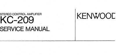 Kenwood KC-209 Manual De Servicio Libro en Inglés Estéreo