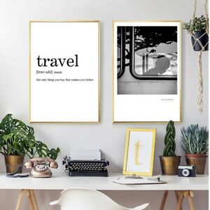Travel Definition Minimalist Canvas Art Print And Poster Living Room Wall Decor Ebay